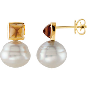 14KT Yellow Gold South Sea Cultured Pearl & Citrine Earrings