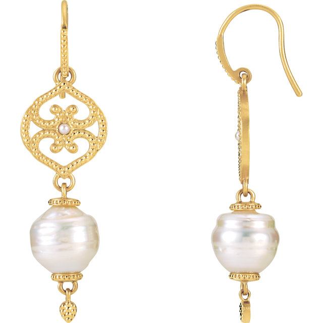 14KT Yellow Gold South Sea Cultured Pearl Earrings