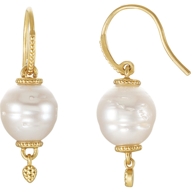 14 KT Yellow Gold South Sea Cultured Pearl Earrings
