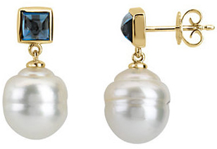 14KT Yellow Gold South Sea Cultured Pearl & London Blue Topaz Earrings