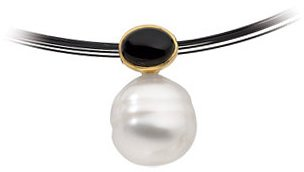 14KT Yellow Gold South Sea Cultured Pearl & Onyx Pendant