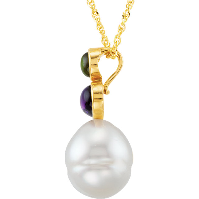 14KT Yellow Gold South Sea Cultured Pearl, Peridot & Amethyst 18