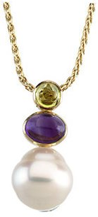 14KT Yellow Gold South Sea Cultured Pearl, Peridot & Amethyst Pendant