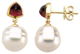 14KT Yellow Gold South Sea Cultured Pearl & Rhodolite Garnet Earrings