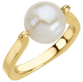 14KT Yellow Gold South Sea Cultured Pearl Ring Size 7