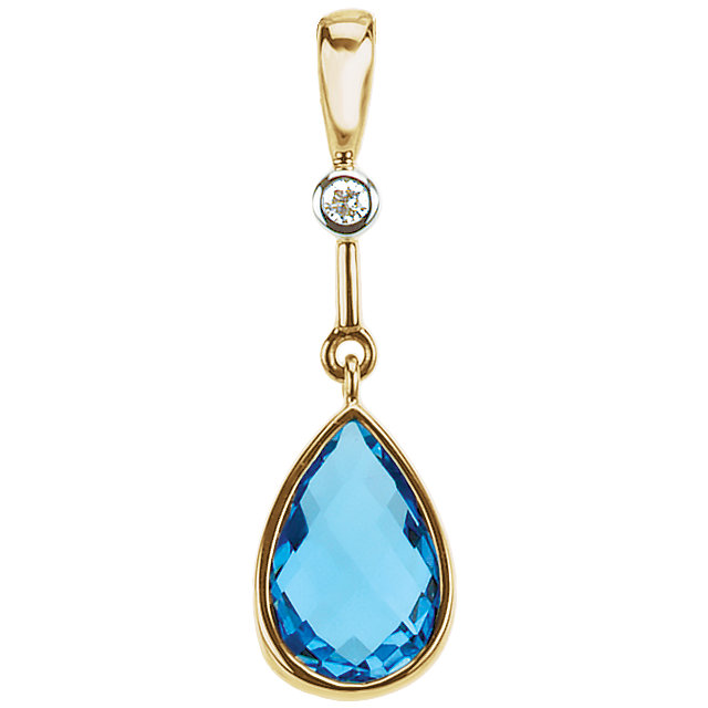 Great Gift in 14 Karat Yellow Gold Swiss Blue Topaz & .015 Carat Total Weight Diamond Pendant