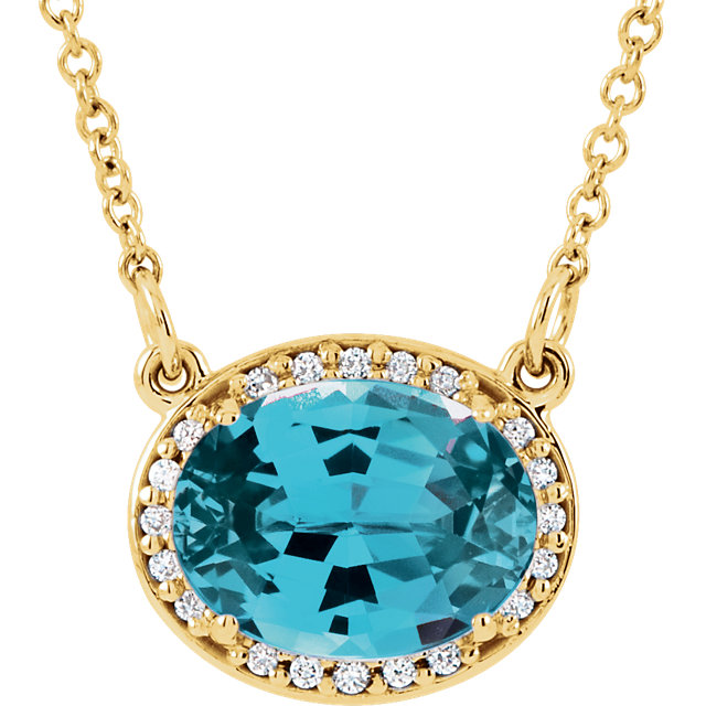 Must See 14 Karat Yellow Gold Swiss Blue Topaz & .05 Carat Total Weight Diamond 16