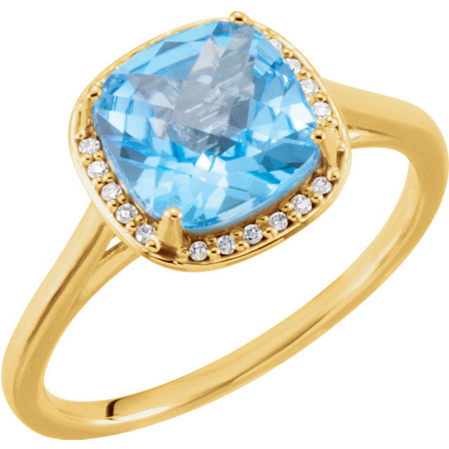Best 14 Karat Yellow Gold Cushion Genuine Swiss Blue Topaz & .055 Carat Total Weight Diamond Halo-Style Ring