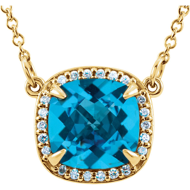 Chic 14 Karat Yellow Gold Swiss Blue Topaz & .06 Carat Total Weight Diamond 16