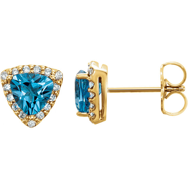 Fine Quality 14 Karat Yellow Gold Swiss Blue Topaz & .08 Carat Total Weight Diamond Earrings