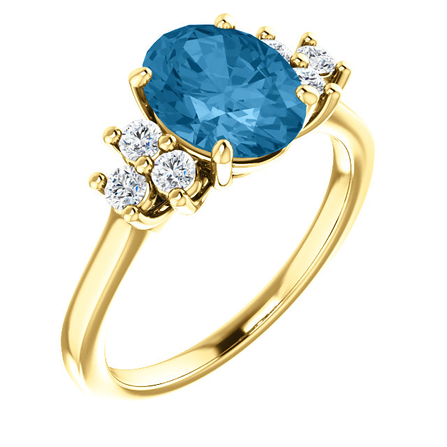 Fabulous 14 Karat Yellow Gold Oval Genuine Swiss Blue Topaz & 1/4 Carat Total Weight Diamond Ring