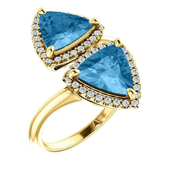 Stunning 14 Karat Yellow Gold Triangle Genuine Swiss Blue Topaz & 1/5 Carat Total Weight Diamond Ring