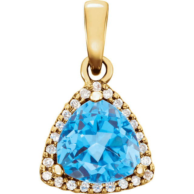 Perfect Gift Idea in 14 Karat Yellow Gold Swiss Blue Topaz & 0.12 Carat Total Weight Diamond Pendant