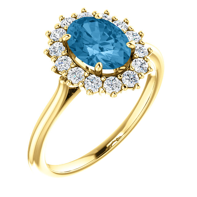 Eye Catching 14 Karat Yellow Gold Oval Genuine Swiss Blue Topaz & 3/8 Carat Total Weight Diamond Ring