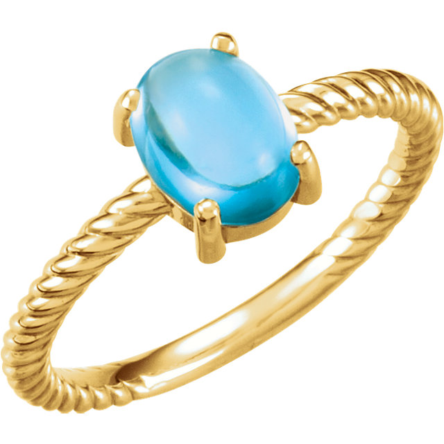 Alluring 14 Karat Yellow Gold Oval Genuine Swiss Blue Topaz Cabochon Ring