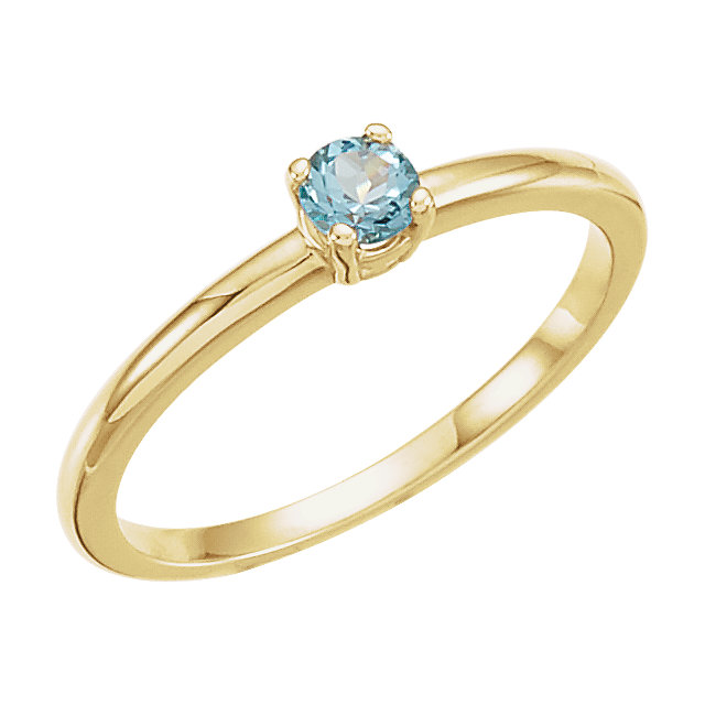 Classic 14 Karat Yellow Gold Round Genuine Swiss Blue Topaz