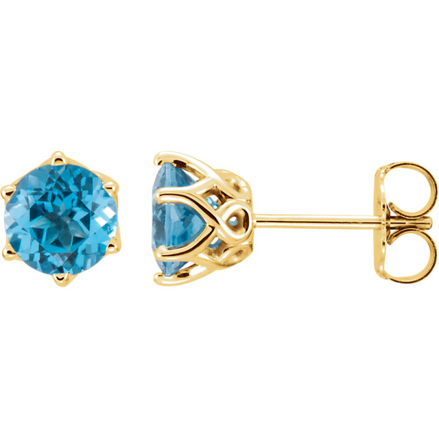 Perfect Jewelry Gift 14 Karat Yellow Gold Swiss Blue Topaz Earrings