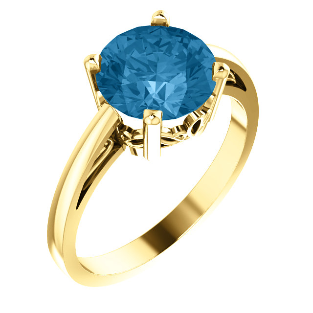 Excellent 14 Karat Yellow Gold Round Genuine Swiss Blue Topaz Ring