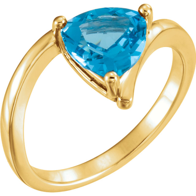 Stunning 14 Karat Yellow Gold Trillion Genuine Swiss Blue Topaz Ring