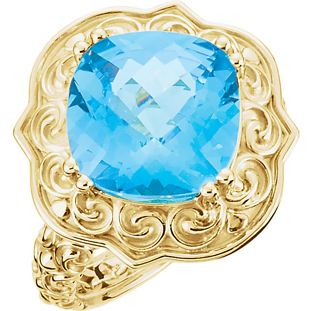Trendy 14 Karat Yellow Gold Cushion Genuine Swiss Blue Topaz Sculptural-Inspired Ring