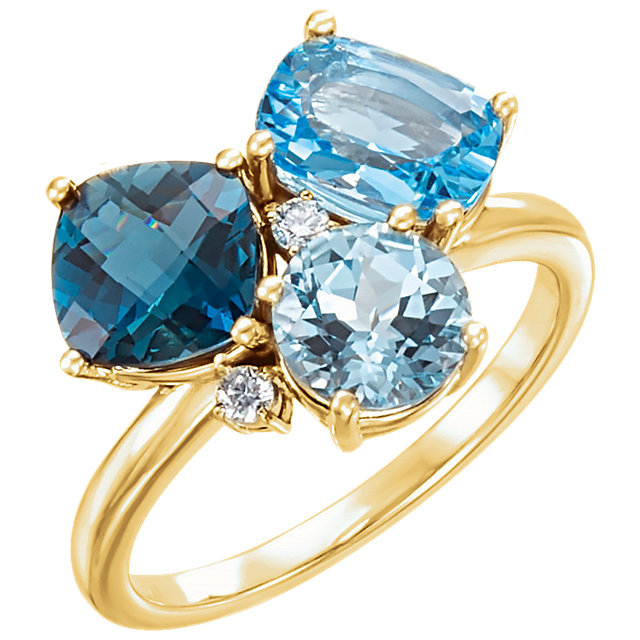 Great Gift in 14 Karat Yellow Gold Swiss, London, & Sky Blue Topaz & .05 Carat Total Weight Diamond Ring