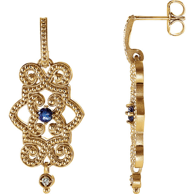 Must See 14 Karat Yellow Gold Tanzanite & .03 Carat Total Weight Diamond Granulated Design Dangle Earrings