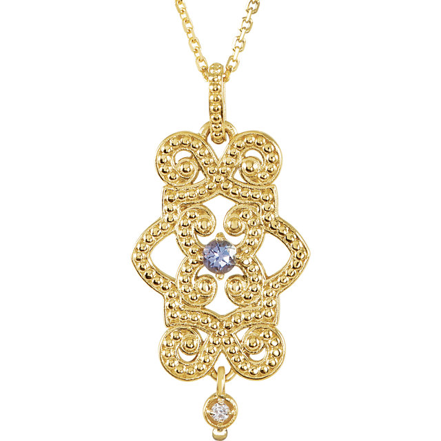 Stunning 14 Karat Yellow Gold Tanzanite & Diamond Granulated Design 18