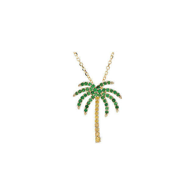 Easy Gift in 14 Karat Yellow Gold Tsavorite Garnet & Yellow Sapphire Palm Tree 16