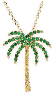 14KT Yellow Gold Tsavorite Garnet & Yellow Sapphire Palm Tree 18