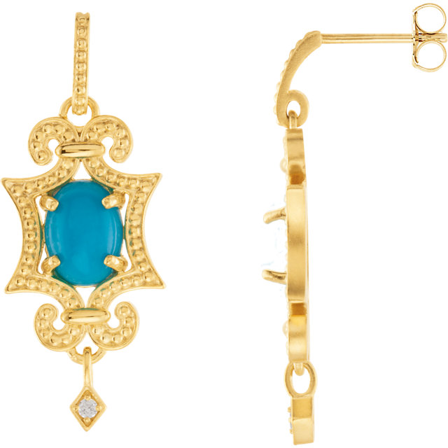 Genuine Turquoise Earrings in 14 Karat Yellow Gold Turquoise & .03 Carat Diamond Earrings