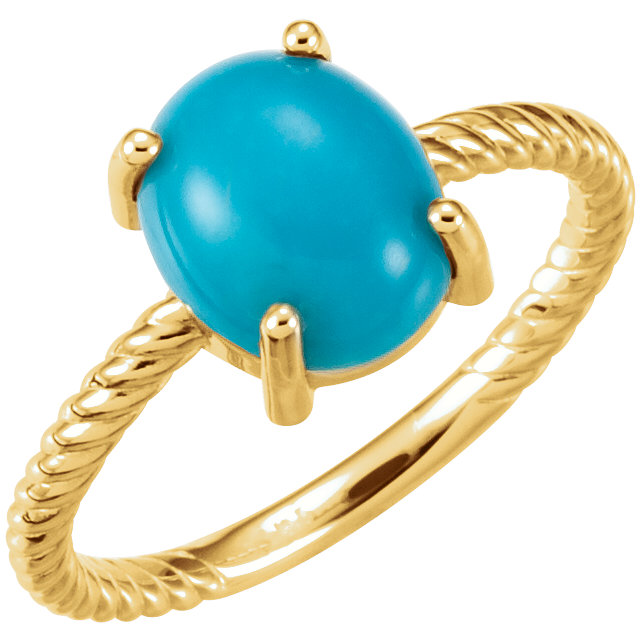 Perfect Jewelry Gift 14 Karat Yellow Gold Turquoise Cabochon Ring