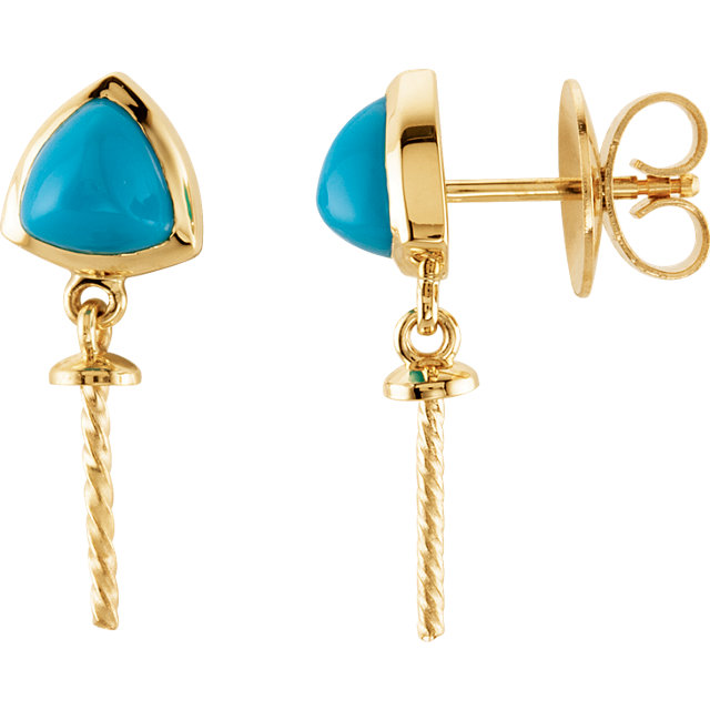 14 KT Yellow Gold Turquoise Semi-set Earrings for Pearl