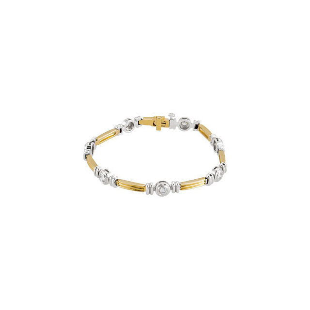 Trendy 14 Karat Yellow & White Gold 1 Carat Total Weight Round Genuine Diamond Line Bracelet