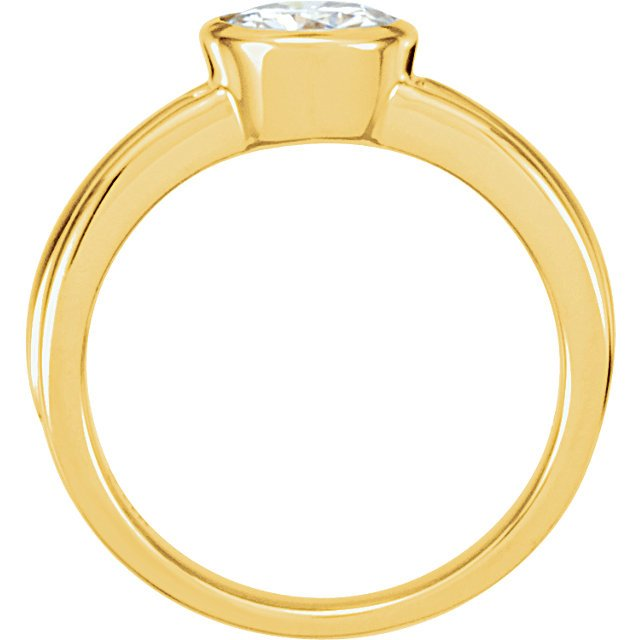 14KT Yellow Gold & White 6.5mm Round Forever Classic Moissanite Solitaire Engagement Ring