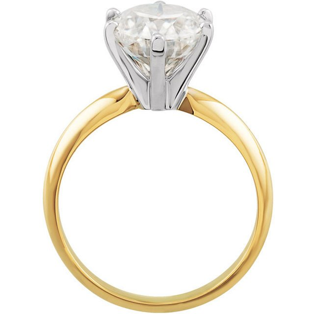 14KT Yellow Gold & White 7x5mm Oval Forever Classic Moissanite Solitaire Engagement Ring