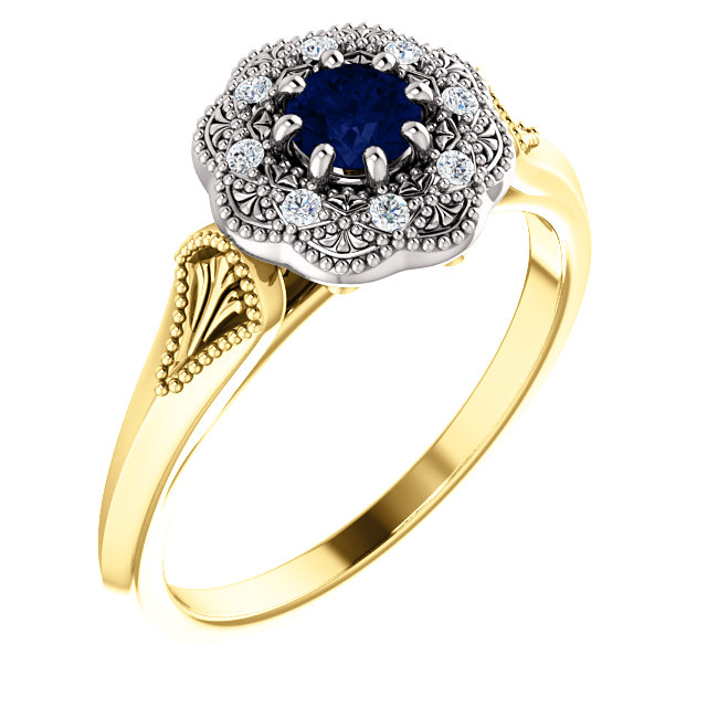 Classic 14 Karat Yellow & White Gold Round Genuine Blue Sapphire & .06 Carat Total Weight Diamond Ring Vintage-Inspired Halo-Style Ring
