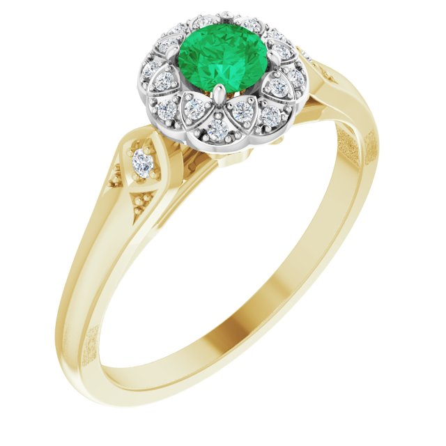 Genuine Emerald Ring in 14 Karat Yellow Gold/White Emerald & 0.10 Carat Diamond Ring