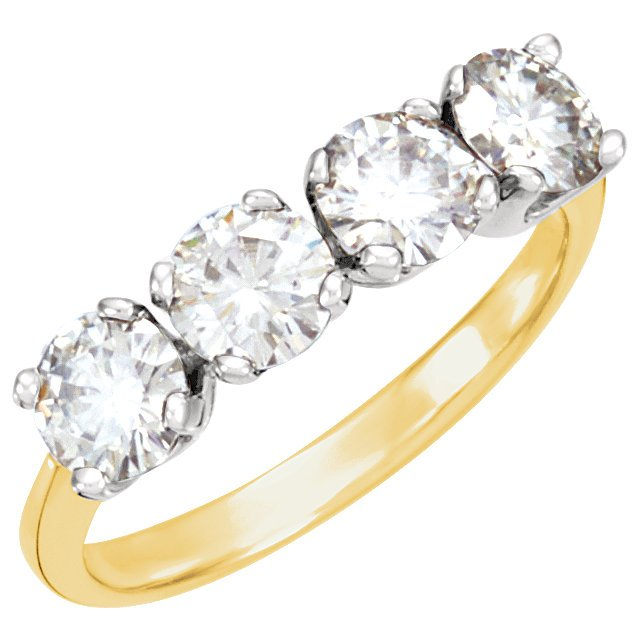 14KT Yellow Gold & White Forever Classic Moissanite Anniversary Band
