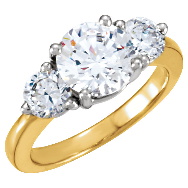 14KT Yellow Gold & White Forever Classic Moissanite Three-Stone Engagement Ring
