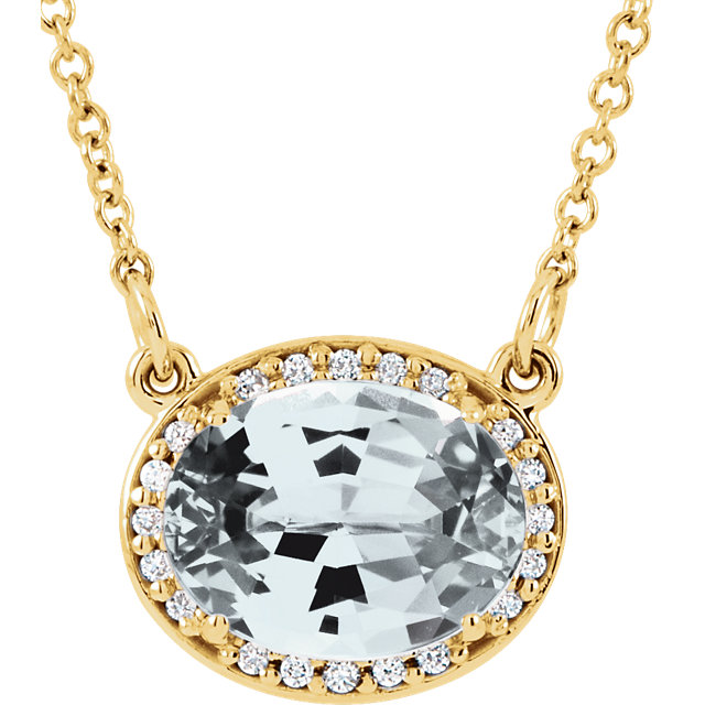 Perfect Gift Idea in 14 Karat Yellow Gold Topaz & .05 Carat Total Weight Diamond 16.5
