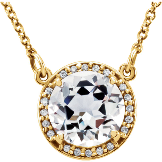 Eye Catchy 14 Karat Yellow Gold 8mm Round White Topaz & .05 Carat Total Weight Diamond 16
