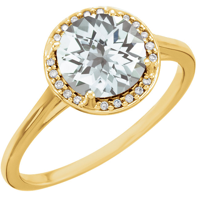 Stylish 14 Karat Yellow Gold Topaz and .05Carat Total Weight Diamond Ring