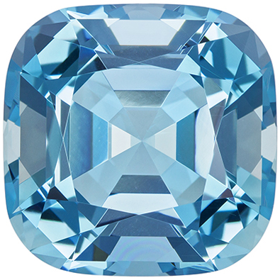 15.3 mm Aquamarine Genuine Gemstone Cushion Cut, Pure Blue, 14.05 carats
