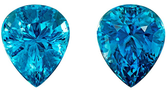 Must See Blue Zircon Genuine Stones, 15.5 carats, Pear Cut, 12.1 x 10  mm , Matching Pair,Top Top Gems