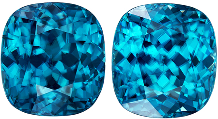 15.69 carats Blue Zircon Well Matched Gem Pair in Cushion Cut, Rich Teal Blue, 10.6 x 9.7 mm
