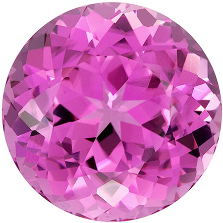 16.2 mm Pink Tourmaline Genuine Gemstone in Round Cut, Vivid Hot Pink, 19.2 carats