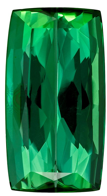 16.6 x 9 mm Blue Green Tourmaline Genuine Gemstone in Cushion Cut, Grass Green, 7.42 carats