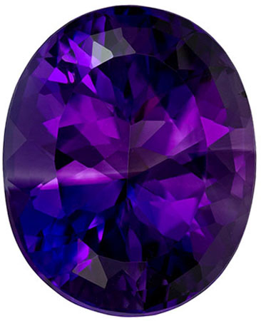 16.8 x 13.7 mm Amethyst Genuine Gemstone Oval Cut, Intense Purple, 10.9 carats