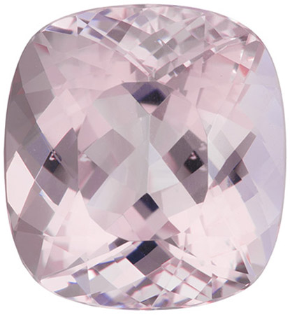 17.17 carats Morganite Loose Gemstone Cushion Cut, Pink Peach, 16.8 x 15.5 mm
