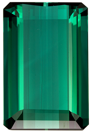 17.33 carats Blue Green Tourmaline Loose Gemstone Emerald Cut, Rich Blue Green, 19.4 x 12.9 mm